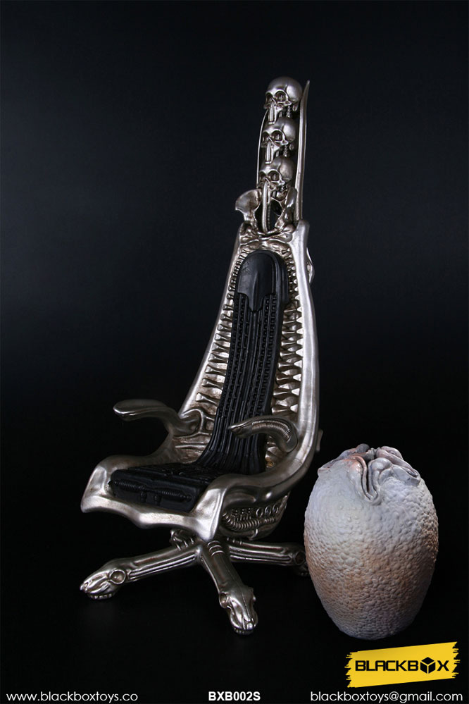 H.R. Giger 1/6 Scale Designer Chair Replica (Metallic Version) with Bonus Alien Egg