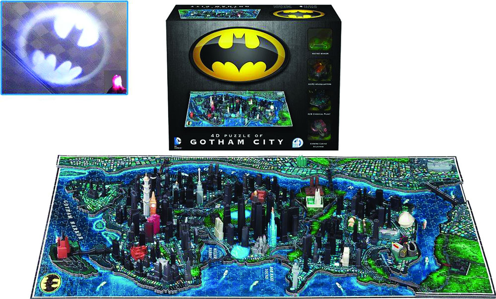 Batman Gotham City 4D Cityscape Puzzle and Batsignal Light