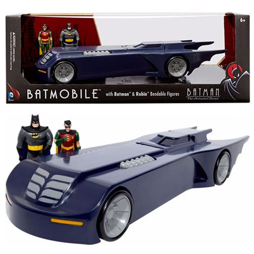 Batman: The Animated Series 14-Inch Batmobile with Batman and Robin 3-Inch Bendable Figures