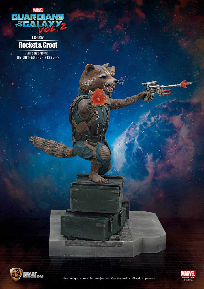 Guardians of the Galaxy 2 Rocket Raccoon & Groot Life Size Statue by Beast Kingdom