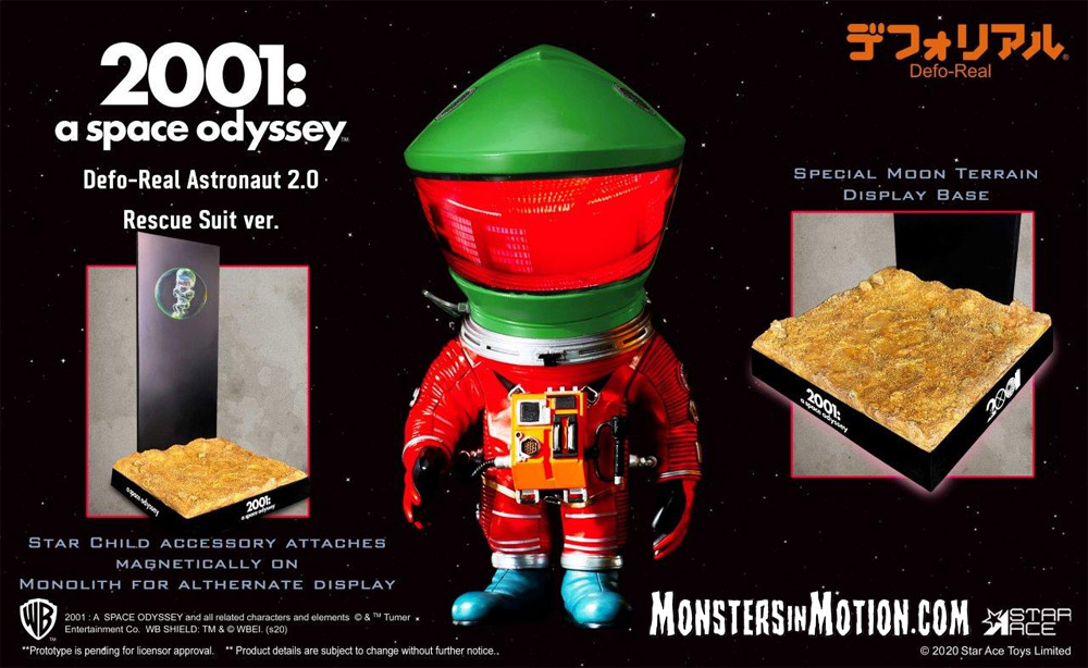 "2001: A Space Odyssey Defo-Real 2.0 Rescue Suit Green and Orange Astronaut with Monolith and Starchild 6"" Figure by Star Ace:"
