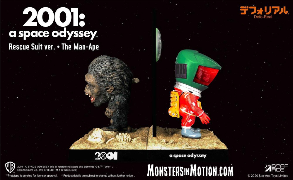 "2001: A Space Odyssey Defo-Real 2.0 Rescue Suit Green and Orange Astronaut with Monolith and Man-Ape 6"" Figure by Star Ace:"