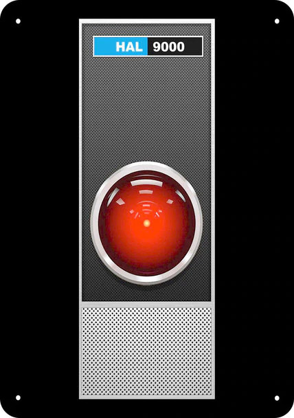 "2001: A Space Odyssey Hal 9000 9"" x 12"" Metal Sign"
