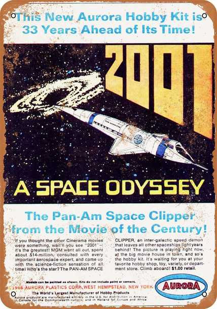 "2001: A Space Odyssey Aurora Space Clipper 9"" x 12"" Metal Sign"
