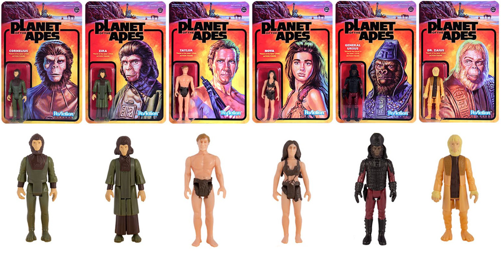 "Planet of the Apes Series 1 Set of 6 ReAction 3.75"" Figures"