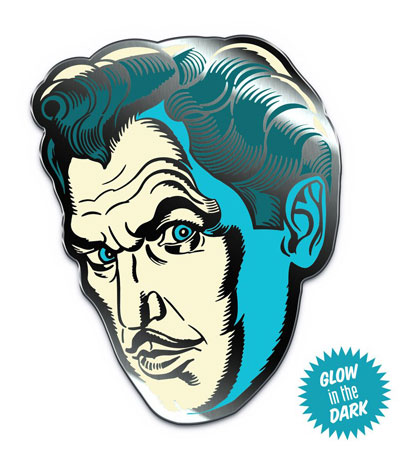 Vincent Price Phosphorescent Pallor Glow-In-The-Dark Enamel Pin