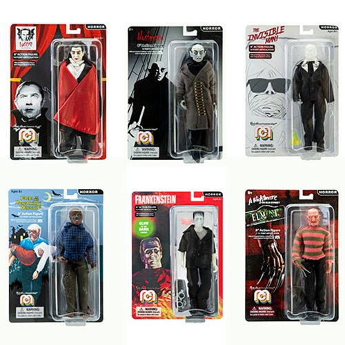 "Mego Horror 8"" Action Figure Set of 6 Figures Frankenstein, Freddy Krueger, Invisible Man, Wolfman, Dracula with Red Cape, and Nosferatu"
