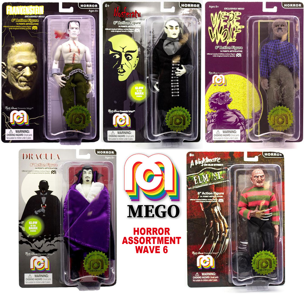 "Mego Horror 8"" Action Figure Wave 6 Set of 5 Figures, Frankenstein, Dracula, Nosferatu, Freddy and Wolf Man"