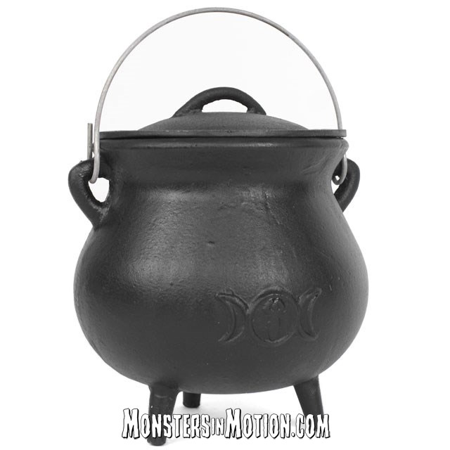 Cast Iron Cauldron 7.5 Inch with Triple Moon Design