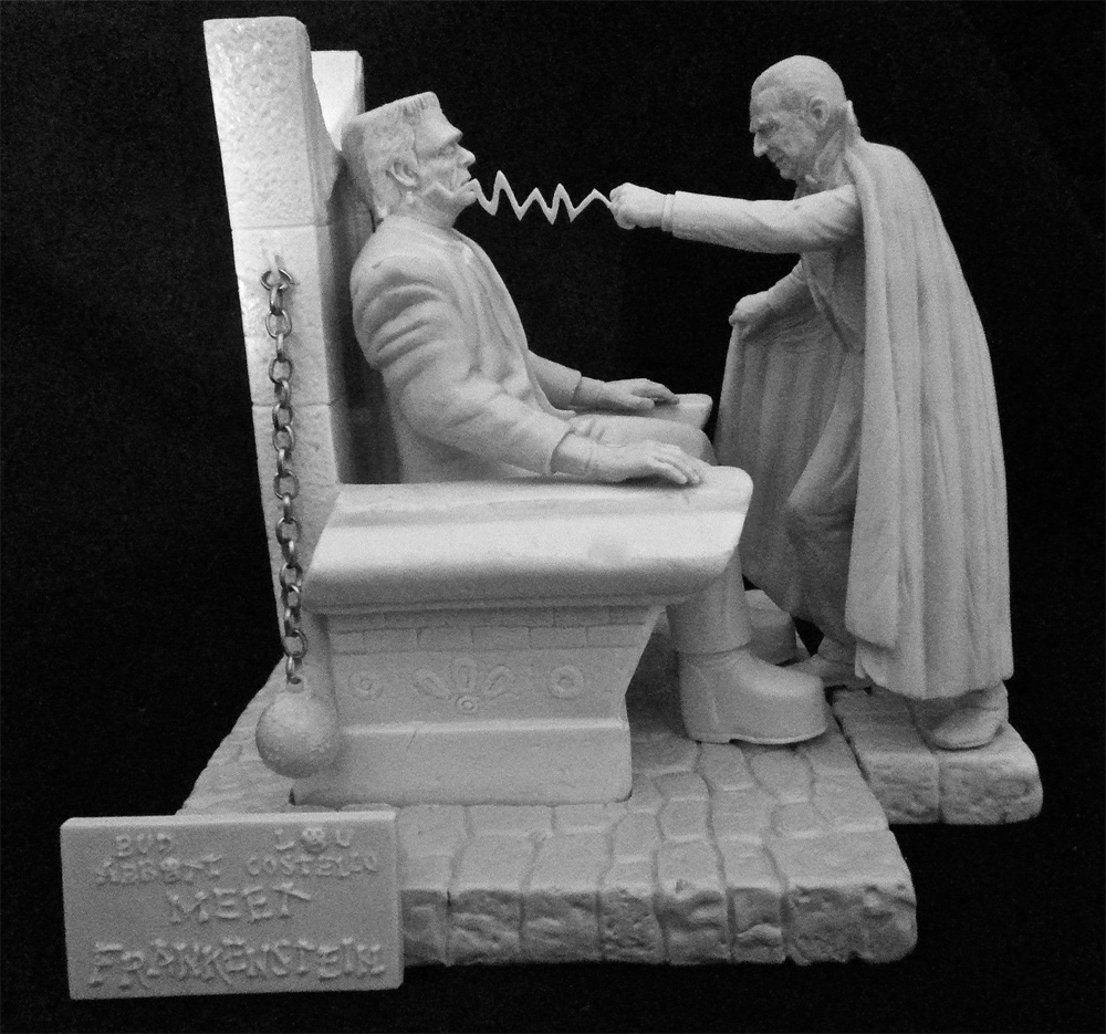 Aurora Monster Scenes Scale Strange Frankenstein and Dracula with Dungeon Chair Model Kit