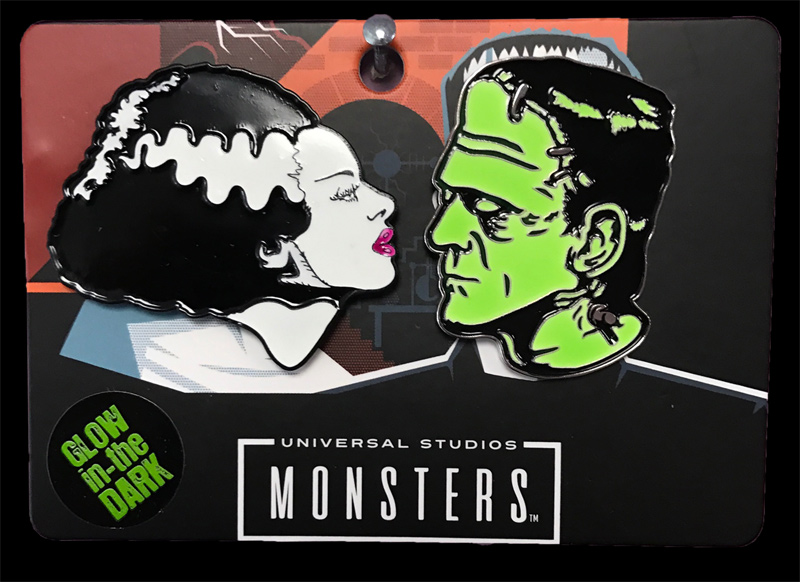 Frankenstein & Bride Enamel Pin Set (Glow In The Dark)