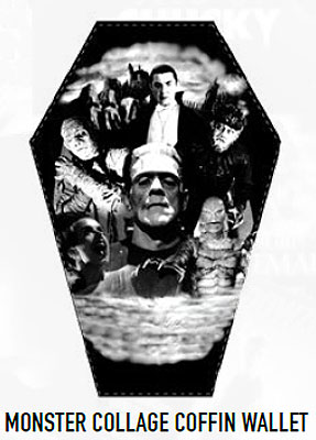 Universal Monsters Collage Coffin Wallet Frankenstein, Dracula, Mummy, Creature from the Black Lagoon, Wolf Man