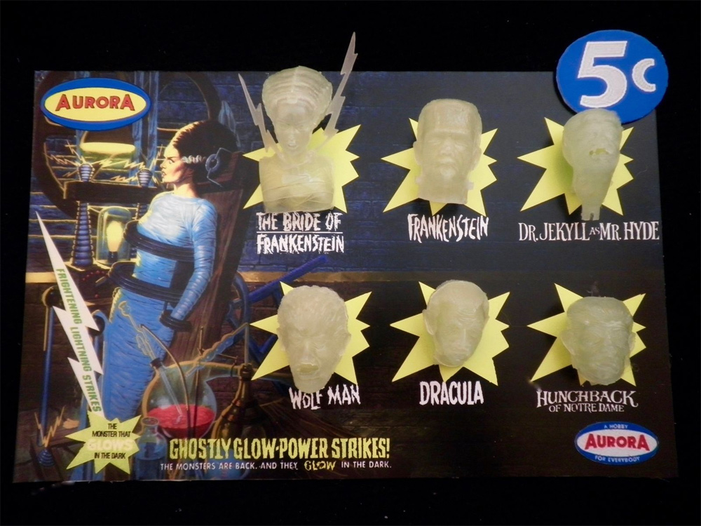 Aurora Monsters Glow Head Fantasy Model Display Card Bride Of Frankenstein Version