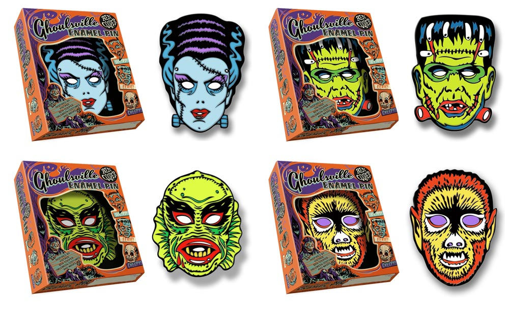 Ben Cooper Ghoulsville Universal Monsters Set of 4 Enamel Pins