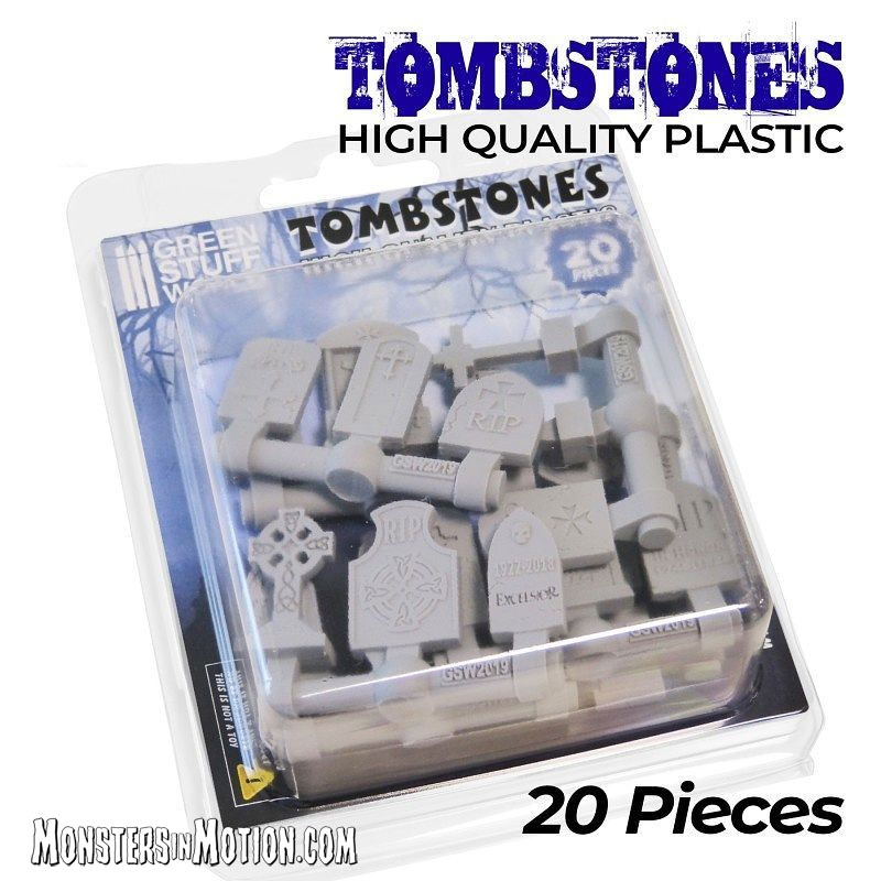 Tombstones 1/50-1/72 Scale Set of 20 Gravestone Markers Model Kit