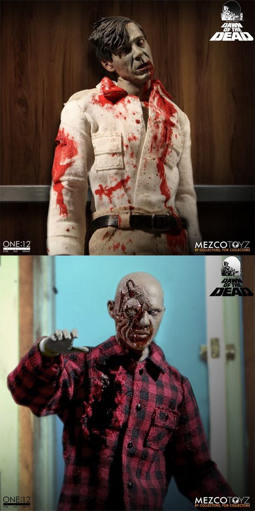 Dawn Of The Dead Plaid Shirt and Flyboy Zombie ONE:12 COLLECTIVE Figures FREE SHIPPING