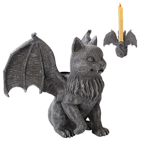 Gargoyle Vampire Cat Candle Holder Statue