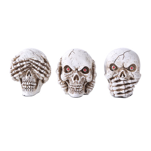 No Evil Skulls Set of 3