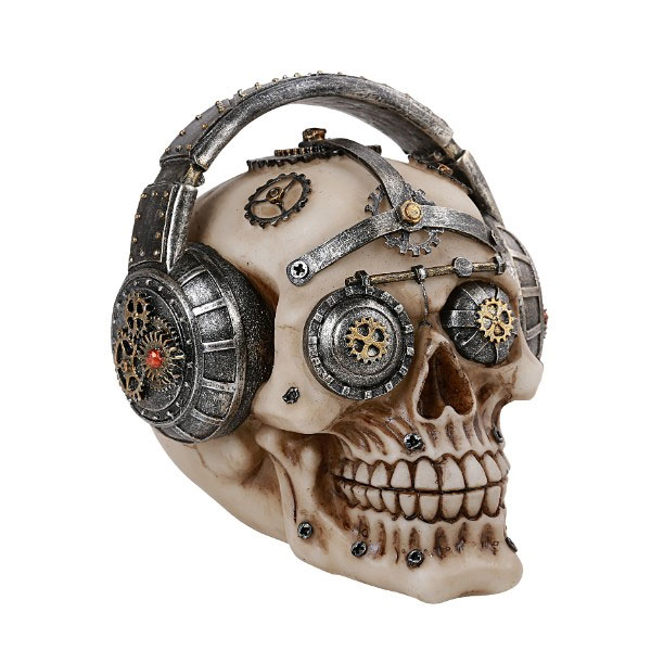 Steampunk Skull with Headphones Statue