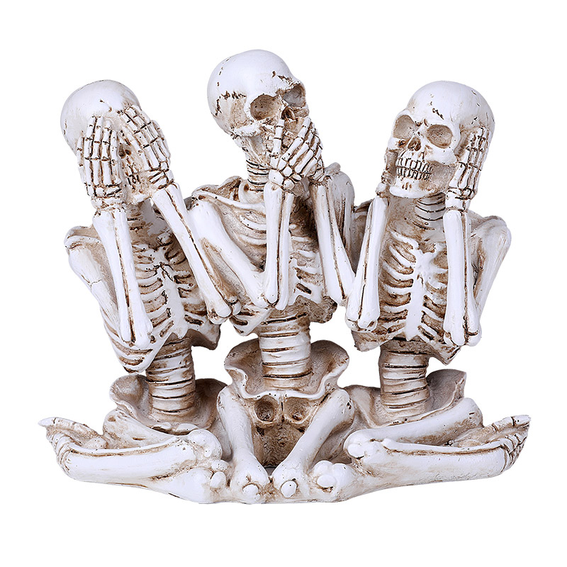 Skeletons Hear, See, Speak No Evil Statue
