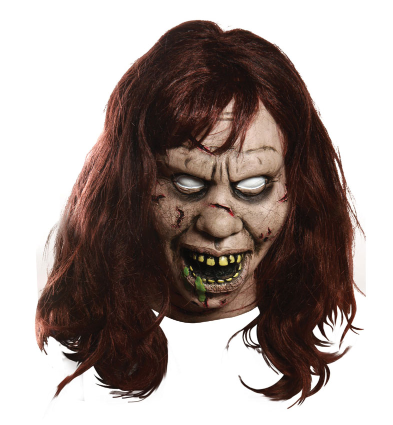 Exorcist Regan Overhead Adult Halloween Mask with Hair