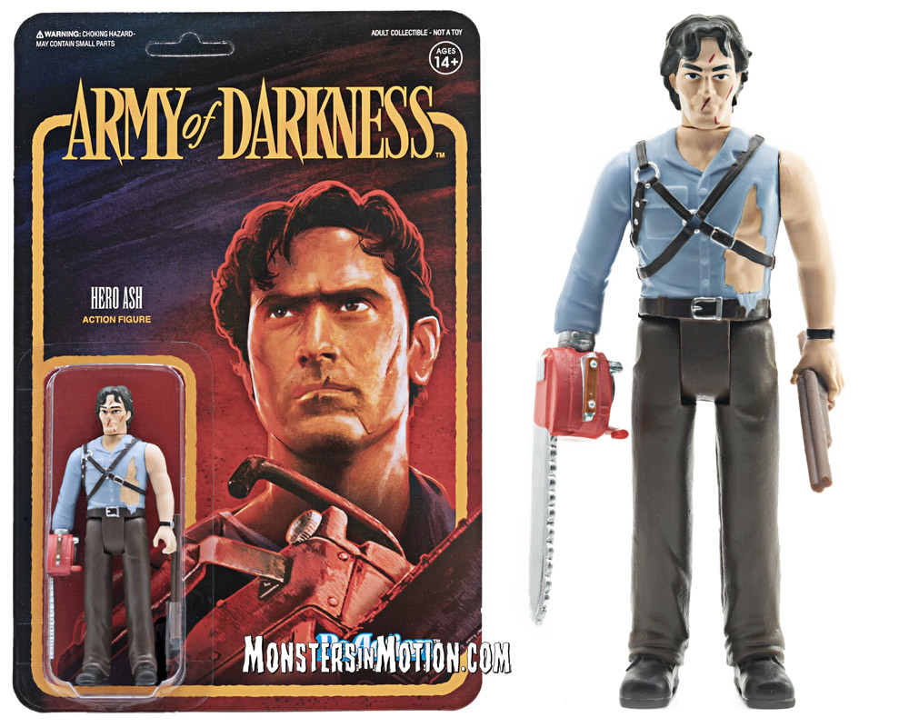 Evil Dead Army of Darkness Hero Ash with Chainsaw Hand 3 3/4-Inch ReAction Figure