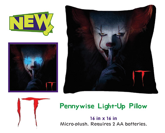 It 2017 Pennywise the Clown Light-Up Throw Pillow Stephen King