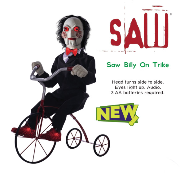Saw Billy Life Size Animated Puppet on Trike with Lights
