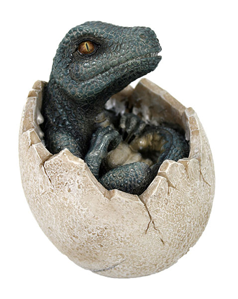 "Dinosaur Egg Green Dino Version 4"" Hand Painted Statue"