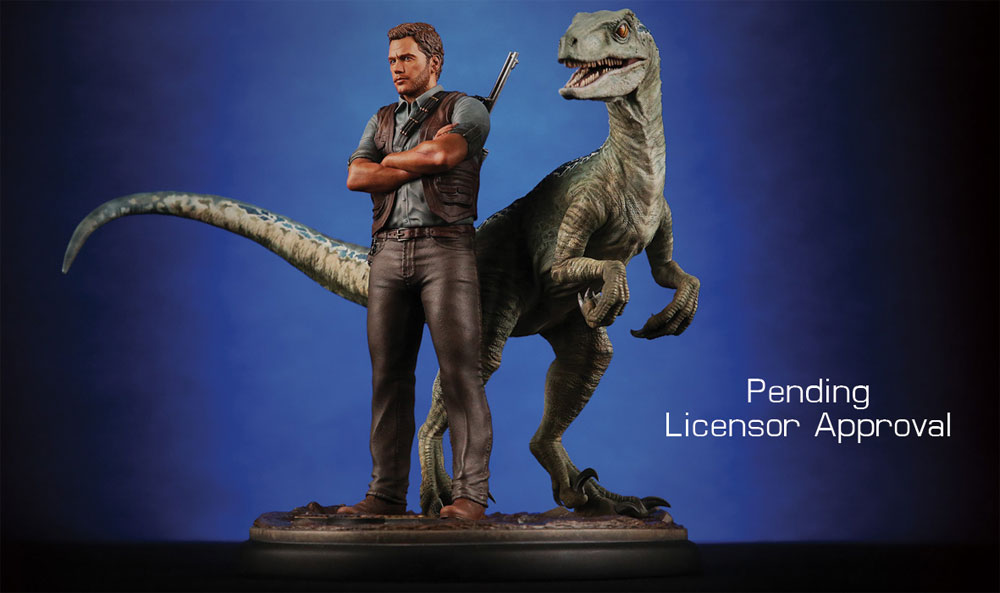 Jurassic World Owen and Blue Raptor 1/9 Scale Statue