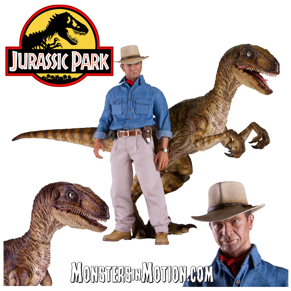 Jurassic Park Dr. Grant and Raptor 1/6 Scale Figure Set - Click Image to Close