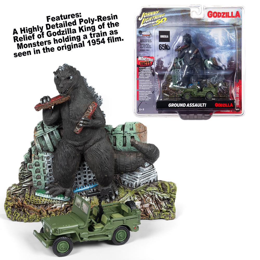 Godzilla Ground Assualt Facade with Willys MB 1/64 Die-cast Jeep by Johnny Lighting