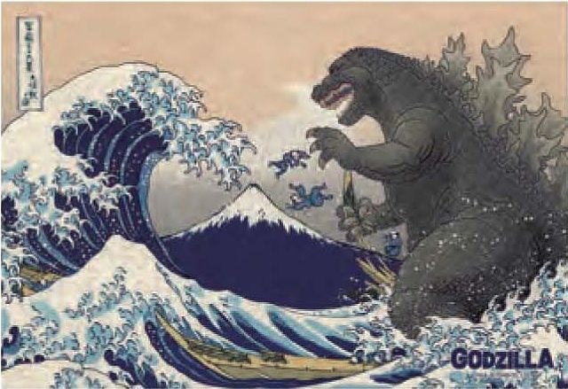 Godzilla Jigsaw Puzzle Thirty-Six Views of Mount Fuji & Giant Monster 300PCS