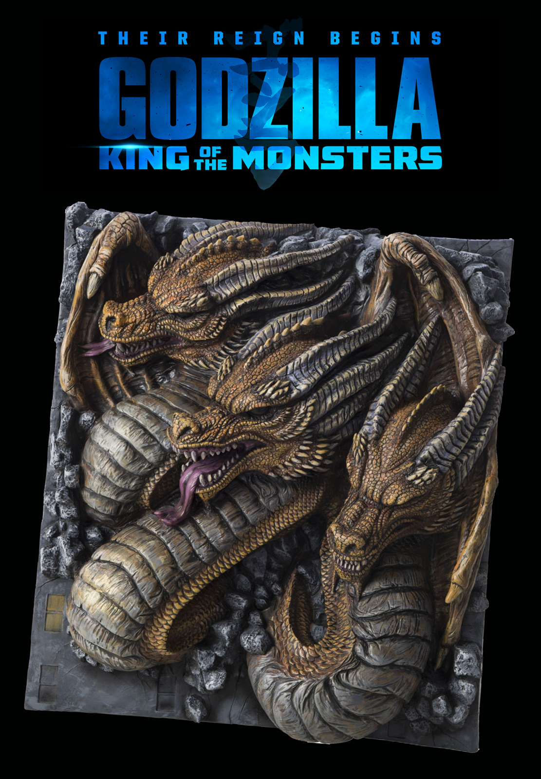 Godzilla 2019 King of the Monsters King Ghidorah Wall Breaker Giant 3D Display