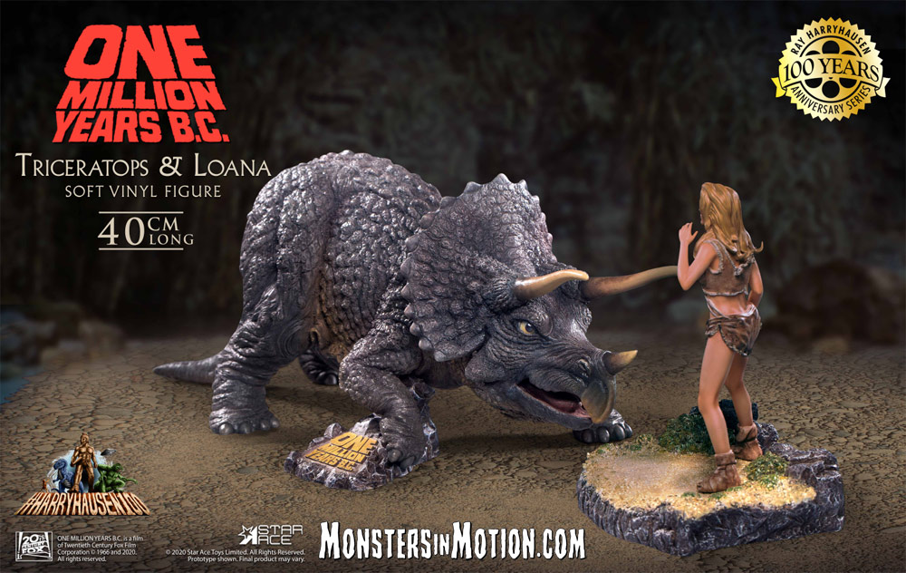 "One Million Years B.C. Triceratops with Loana 16"" Diorama Statue Ray Harryhausen LIMITED EDITION"