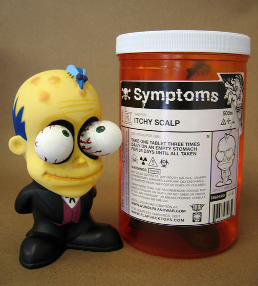 "Symptoms Itchy Scalp 6.5"" Vinyl Figure in Pill Bottle Display"