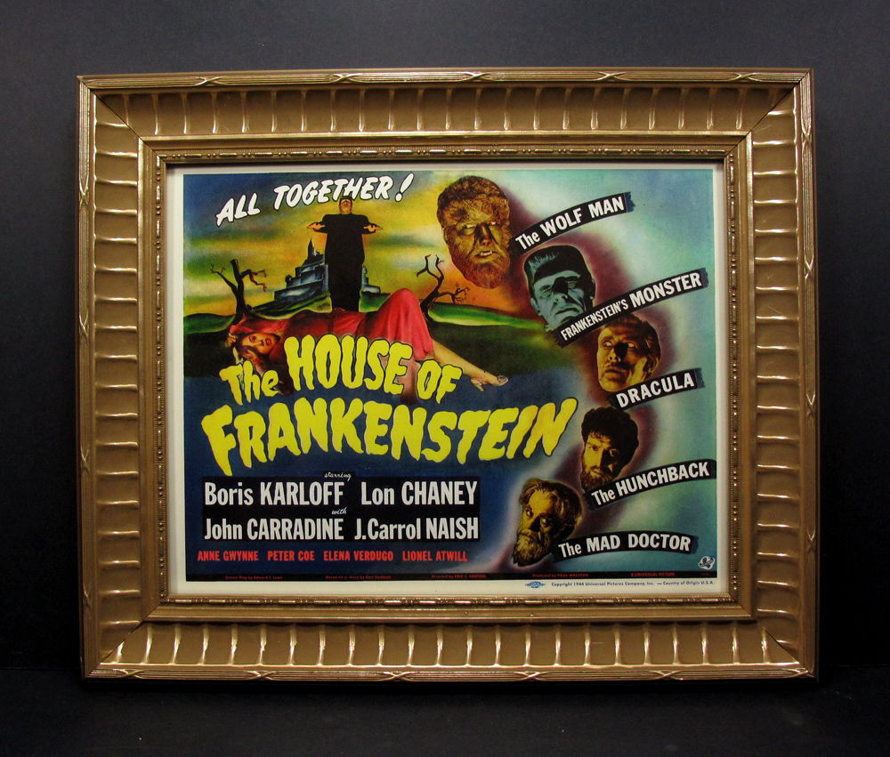 House of Frankenstein Framed Lobby Card Boris Karloff, Lon Chaney
