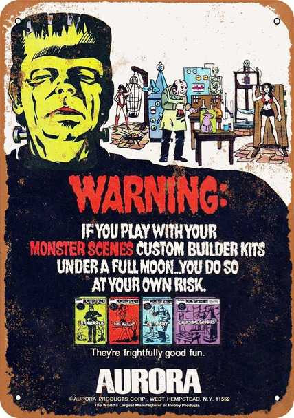 "Aurora Monster Scenes Model Kits 10"" x 14"" Metal Sign"