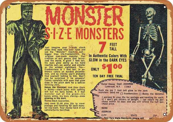 "Monster Size Monsters 1967 Yellow Metal Sign 9"" x 12"""