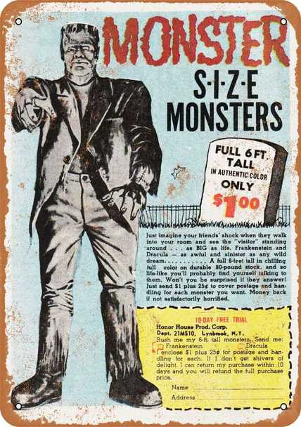 "Monster Size Monsters White 1967 Metal Sign 9"" x 12"""