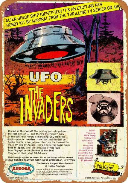 "Invaders U.F.O. 1968 Aurora Model Kit Metal Sign 9"" x 12"""