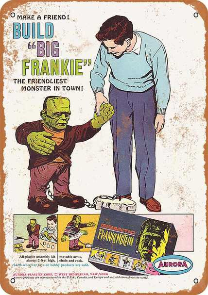 "Aurora Gigantic Frankenstein 1964 Model Kit Metal Sign 9"" x 12"""