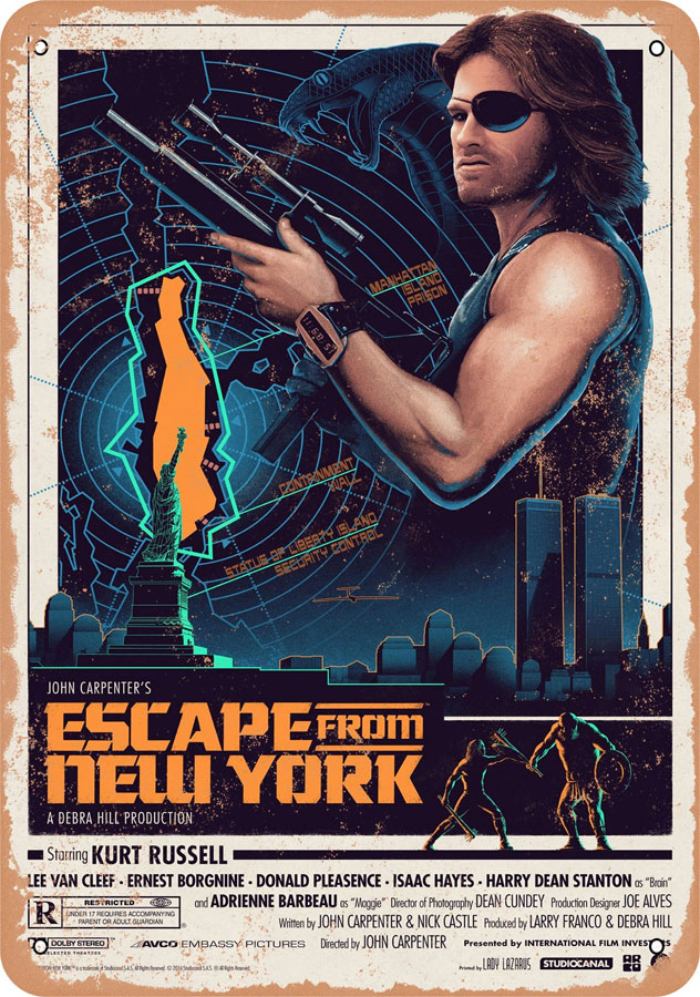 "Escape from New York #2 1981 10"" x 14"" Metal Sign"