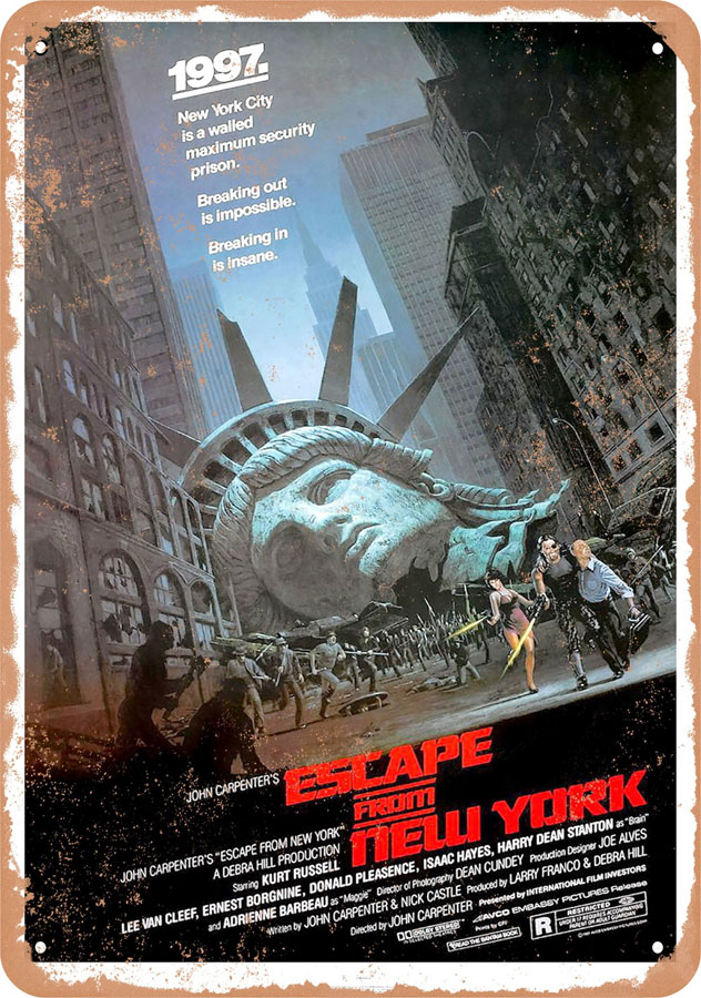 "Escape from New York #1 1981 10"" x 14"" Metal Sign"