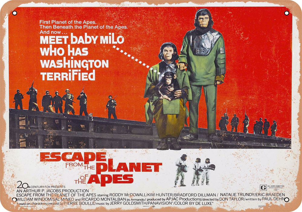 "Escape From the Planet of the Apes 1971 10"" x 14"" Metal Sign"