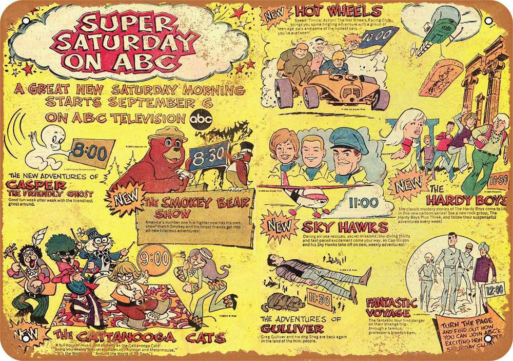 "Super Saturday on ABC 1969 10"" x 14"" Metal Sign"