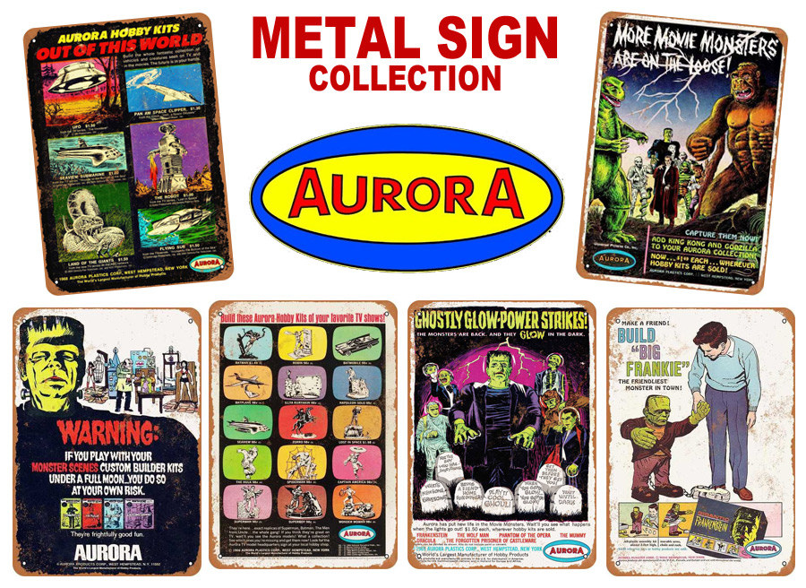 "Aurora Movie Monsters on the Loose 1964 Metal Sign 9"" x 12"""
