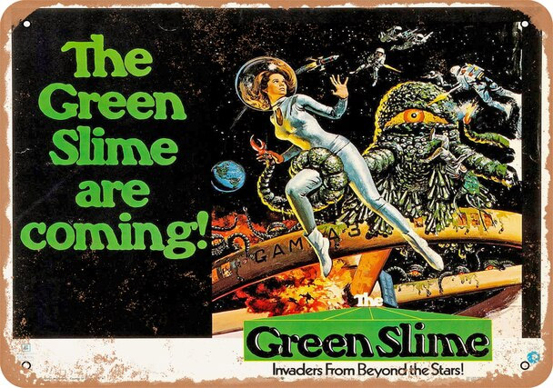 "Green Slime 1968 Movie 10"" x 14"" Metal Sign"