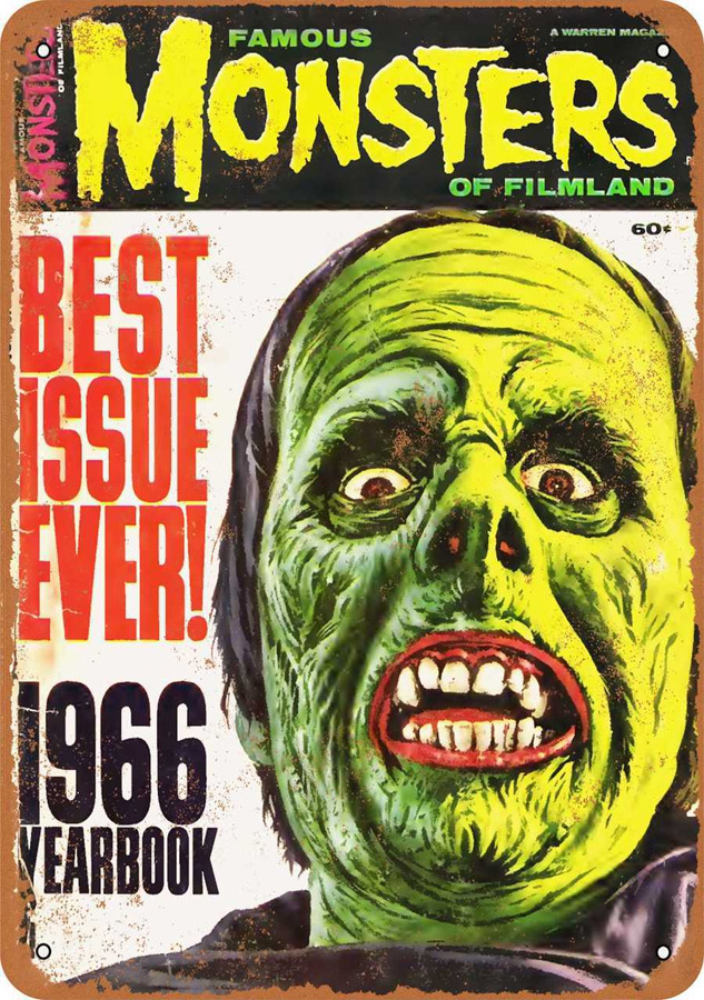 "Famous Monsters of Filmland 1966 Metal Sign 9"" x 12"""