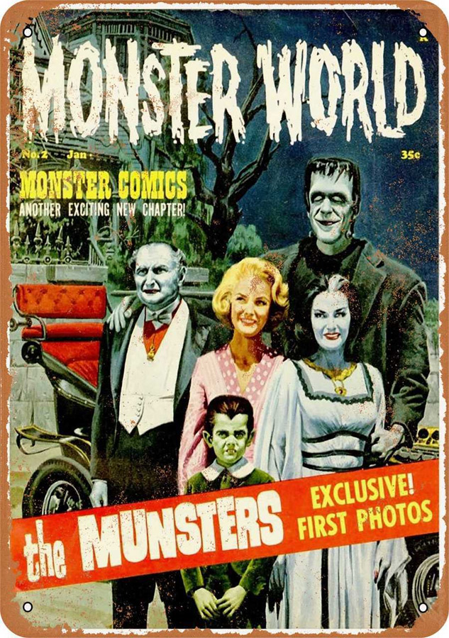 "Munsters Monster World 1964 Metal Sign 9"" x 12"""